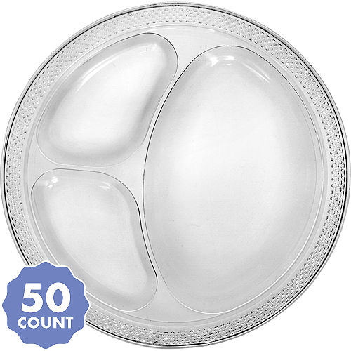 Party Pack Clear Plastic Divided Dinner Plates 50ct