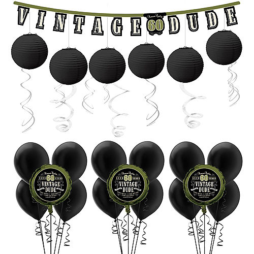 Vintage Dude 60th Birthday Decorating Kit With Balloons