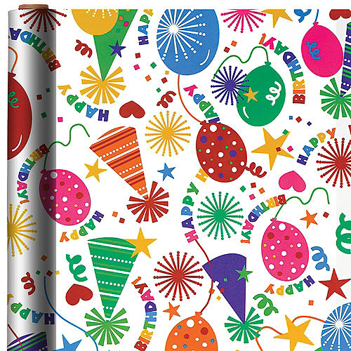 Party Hats Balloons Birthday Gift Wrap