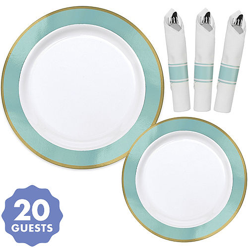 Premium Gold Robin S Egg Blue Border Tableware Kit For 20 Guests