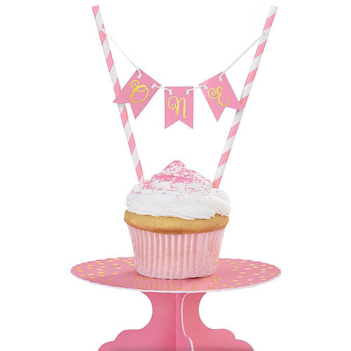 Mini Pink 1st Birthday Cake Stand Kit 2pc