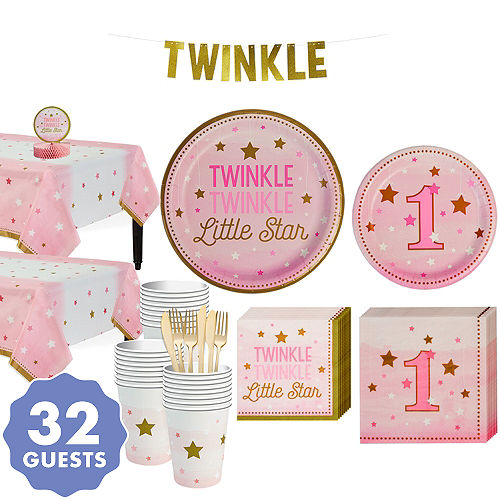 Pink Twinkle Little Star 1st Birthday Party Kit For 32 Guests