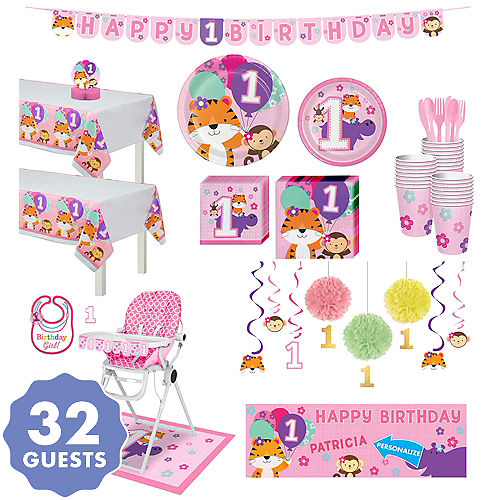 Pink One Is Fun 1st Birthday Deluxe Party Kit For 32 Guests
