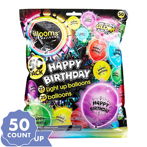Illooms Light Up Assorted Color Happy Birthday LED Balloons 50ct