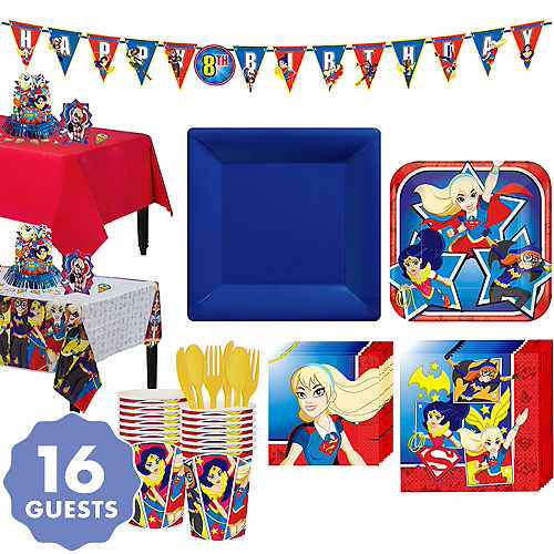 DC Super Hero Girls Tableware Party Kit For 16 Guests