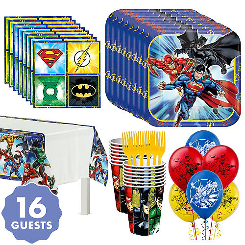 Justice League Tableware Party Kit For 16 Guests