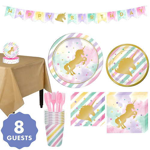 62656a58568 Sparkling Unicorn Tableware Party Kit for 8 Guests