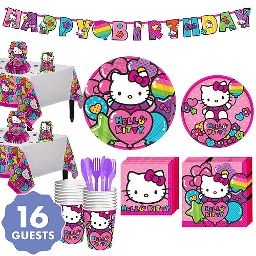 Rainbow Hello Kitty Tableware Party Kit For 16 Guests
