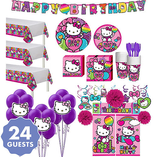 Rainbow Hello Kitty Tableware Ultimate Kit For 24 Guests