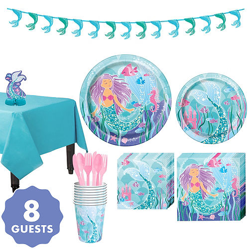 Mermaid Tableware Party Kit For 8 Guests