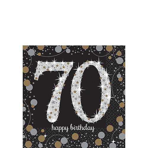 70th Birthday Beverage Napkins 16ct