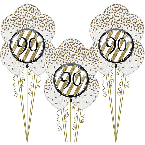 White Gold 90th Happy Birthday Balloon Kit