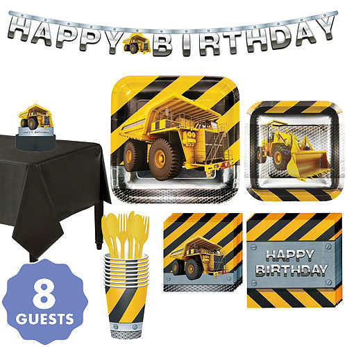 Construction Zone Tableware Party Kit For 8 Guests