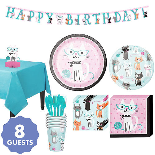 Purrfect Cat Tableware Party Kit For 8 Guests
