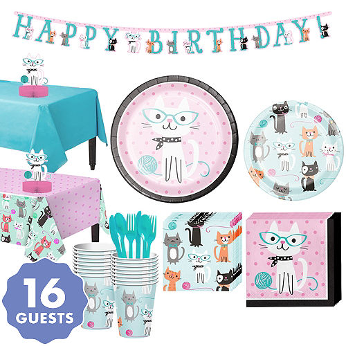 Purrfect Cat Tableware Party Kit For 16 Guests
