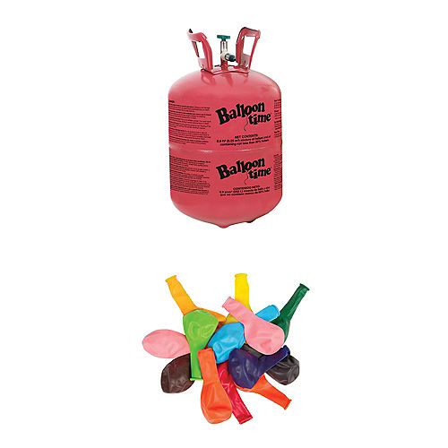 Balloon Time Small Helium Tank 89cu Ft Kit With Balloons Ribbon