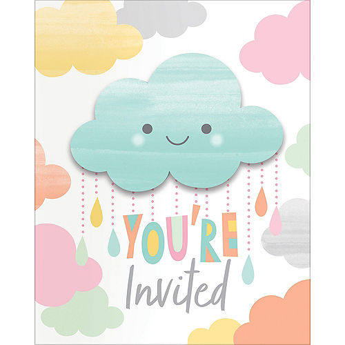 Baby shower invitations printable baby shower invitations party city happy clouds invitations 8ct filmwisefo