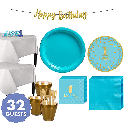 Blue Gold Confetti Premium 1st Birthday Party Kit For 32 Guests
