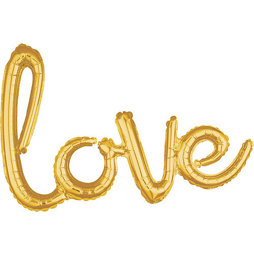air filled gold love cursive letter balloon banner