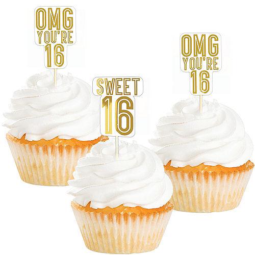 Metallic Gold Sweet 16 Cupcake Picks 16ct