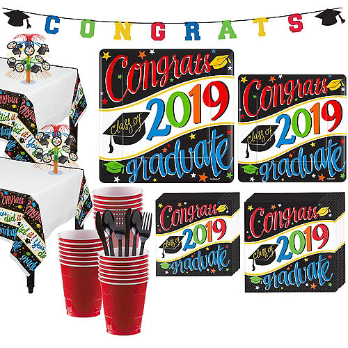 Deluxe Congrats Grad Colorful Graduation Party Kit for 36 Guests