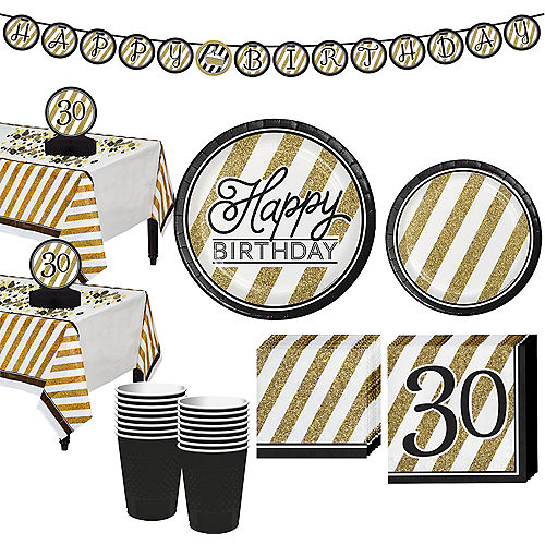 White Gold Striped 30th Birthday Party Kit For 16 Guests