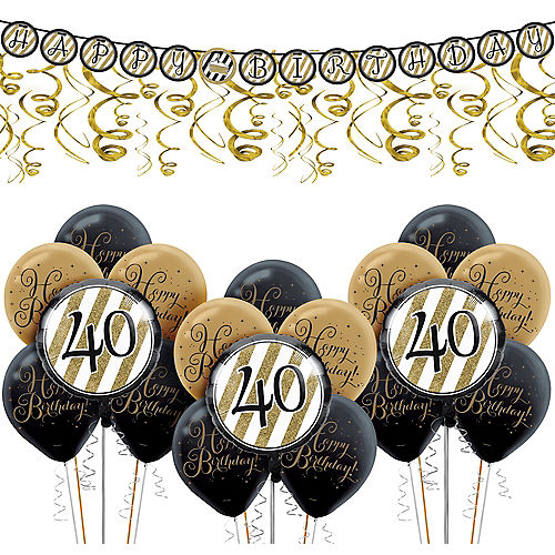 White Gold Striped 40th Birthday Decorating Kit With Balloons