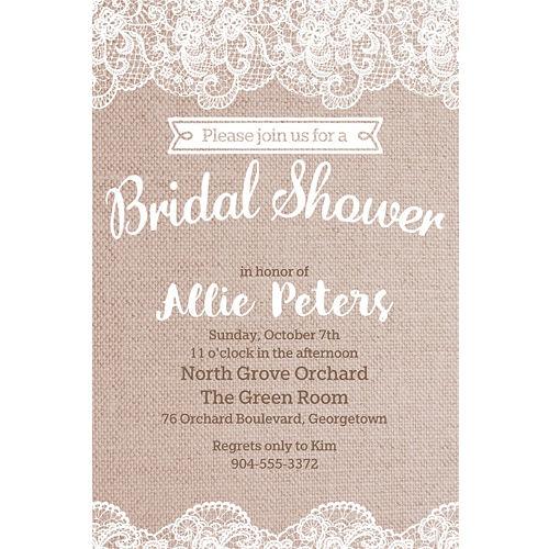 3808eefb8aaf Custom Burlap   Lace Bridal Shower Invitations