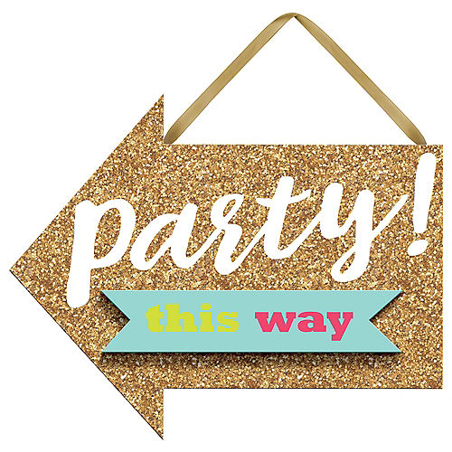 Mini Glitter Gold Sign Of The Times Party