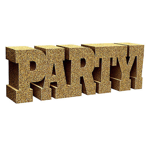 Glitter Gold Party Sign