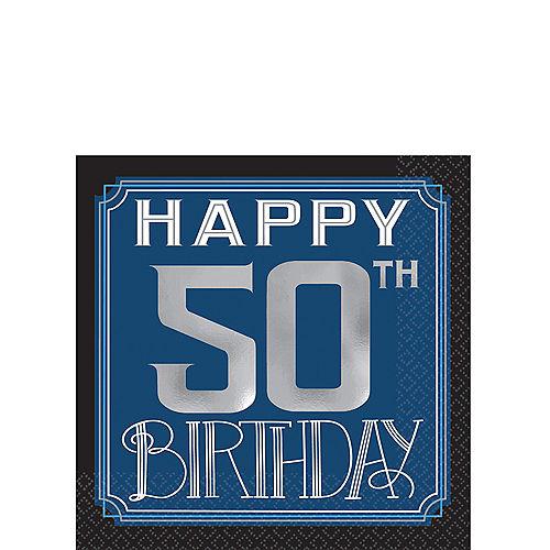 Vintage Happy Birthday 50th Beverage Napkins 16ct