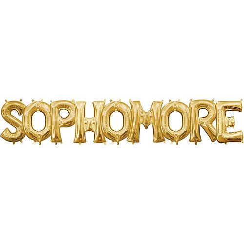 air filled gold sophomore letter balloon kit