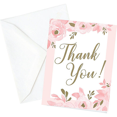 pink gold bridal shower thank you cards 12ct