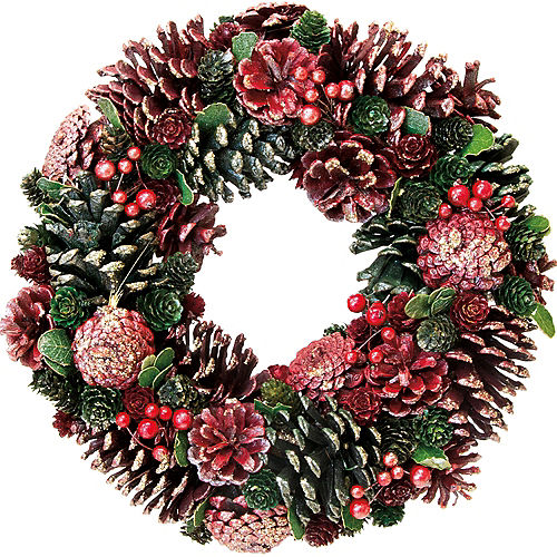 glitter red pinecone wreath