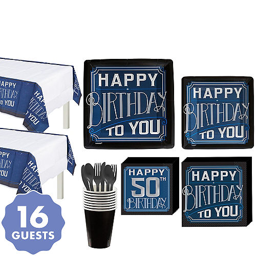 Vintage Happy Birthday 50th Party Kit For 16 Guests