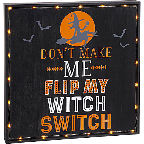 Light-Up Witch Switch Sign