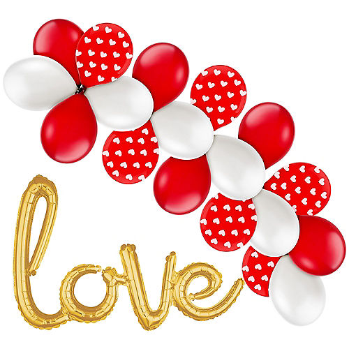 7d81d1fe1c56 21in Air-Filled Gold Love Cursive Letter Balloon Kit
