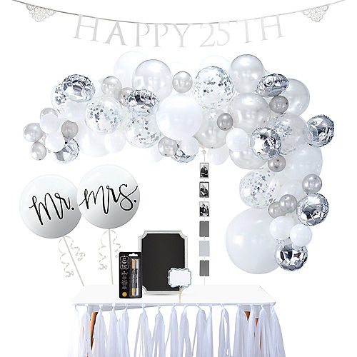 Silver 25th Wedding Anniversary Party Supplies 50th Anniversary